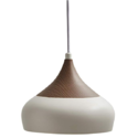 Stone & Beam Modern Sleek Walnut Finish Pendant Fixture With Light Bulb - 9.5 x 9.5 x 8 Inches, 81 Inch Cord, Matte White $19.35