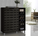 Baxton Studio Shirley Modern & Contemporary Wood 2-Door Shoe Cabinet with Open Shelves, Dark Brown