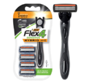 BIC Flex 4 Sensitive Hybrid Men's 4-Blade Razor, 1 Handle, 4 Cartridges