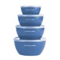 Kitchenaid Prep Bowls with Lids, Set of 4, Ocean Blue $10.99