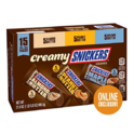 SNICKERS Creamy Singles Size Square Candy Bars Assortment, 15-Count Variety Box $11.04
