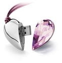 8GB Shiny Crystal Heart Shape USB Flash Drive with Necklace