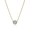 Amazon Collection 10k Gold Swarovski Elements Slide Ball Pendant Necklace