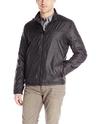 Kenneth Cole REACTION Men's Reversible Fleece To Nylon Jacket, Black/Charcoal, Medium