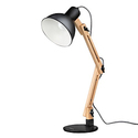 Tomons Scandinavian Swing Arm Wood Desk Lamp, Black