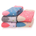 EBMORE Women's Heart Printed Thick Winter Casual Wool Crew Socks
