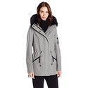 Calvin Klein Women's Anorak Wool Coat with Faux Fur Trimmed Coat