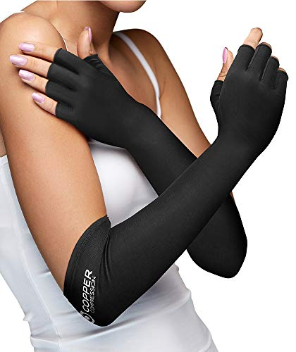 Copper Compression Long Arthritis Gloves - Guaranteed Highest Copper Content