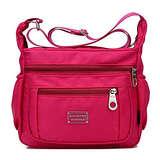 Soyater Nylon Crossbody Shoulder Bag, 9 Pockets (Rose)