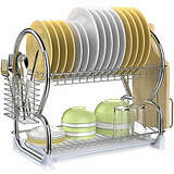 Dish Drying Rack Veckle 2 Tier Dish Rack Stainless Steel Dish Drainer Utensil Holder