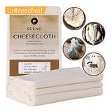 Cheesecloth, Grade 90, 36 Sq Feet, Reusable, 100% Unbleached Cotton Fabric