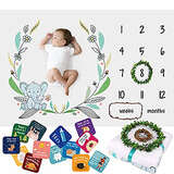 Baby Monthly Milestone Blanket for Boys Girls - Soft Fluffy Unisex Design - 60 x 40 in - 1 to 12 with Weeks and Months - Includes Wreath and String Markers, 18 Baby Milestone Cards and an e-Book