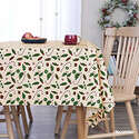 Deconovo Designer Series Home Christmas Table Cloth Oxford Water Resistant Candies Leaves Decorative Rectangular Tablecloth Beige 54W x 84L Inch