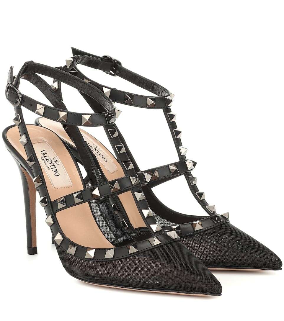 Valentino Garavani Rockstud mesh and leather pumps