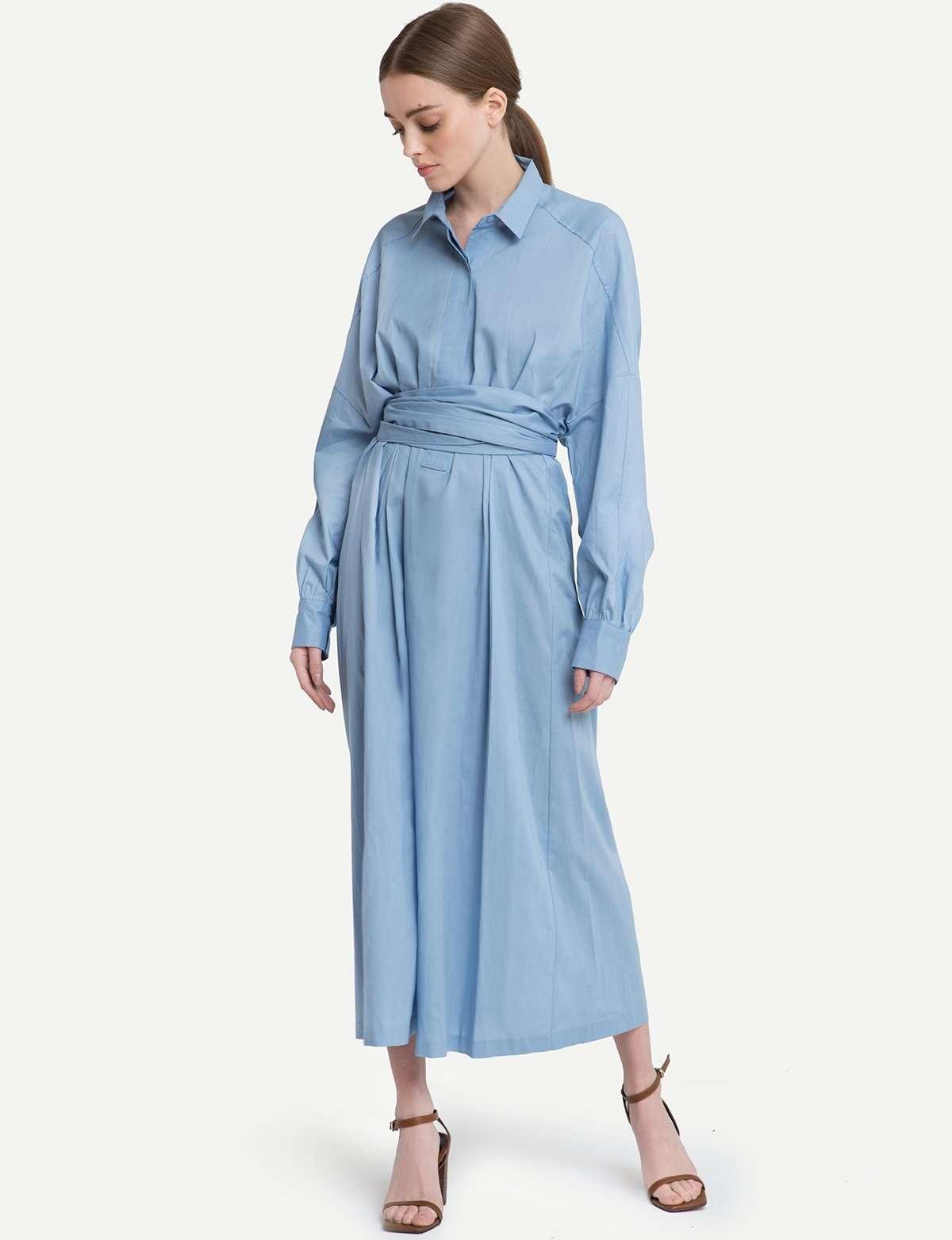 腰带衬衫裙