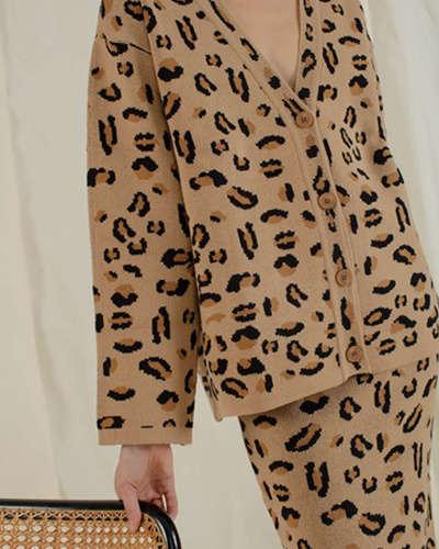 豹纹针织开衫