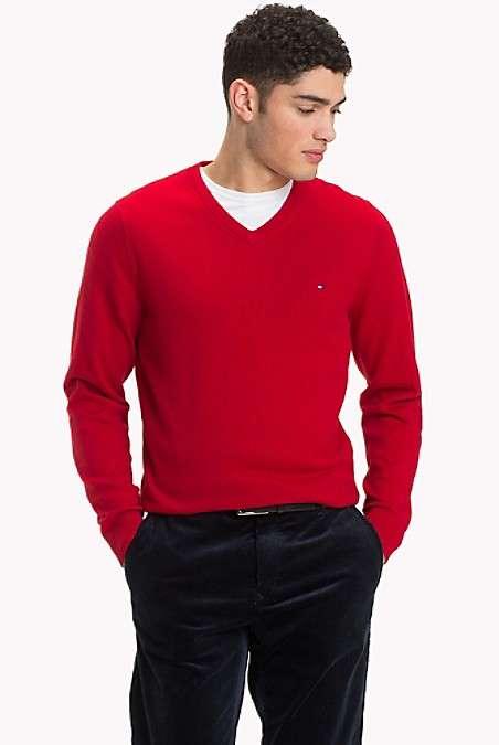 男士V领毛衣