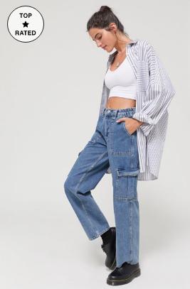 高腰工装裤