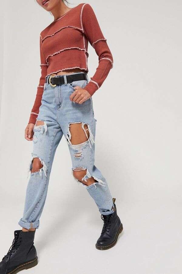 高腰mom牛仔裤