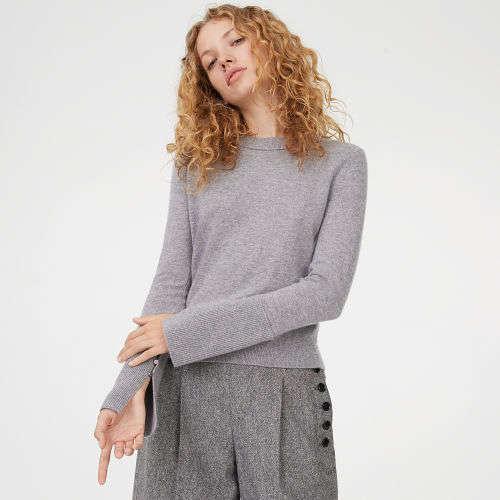 袖口开叉羊绒毛衣