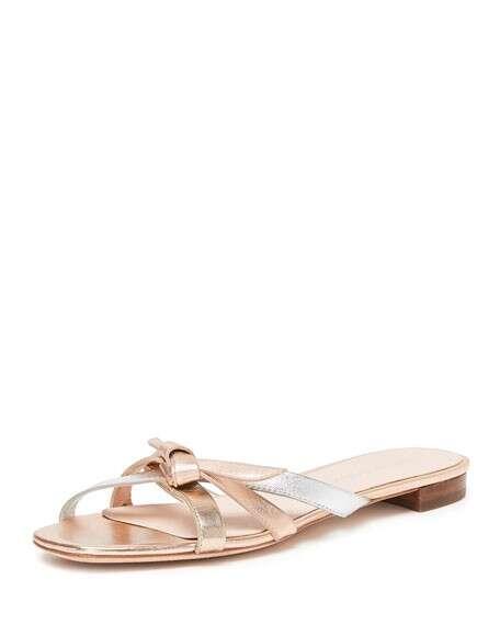 Loeffler Randall Eveline Delicate Strappy Flat Slide Sandals