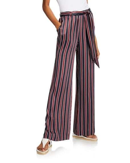 FRAME Side-Slit Striped Easy Pull-On Pants