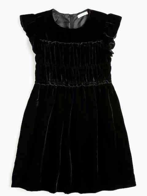 女童天鹅绒花边连衣裙