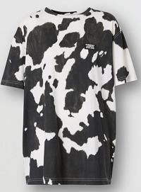 Logo Detail Cow Print Cotton Oversized T-shirt