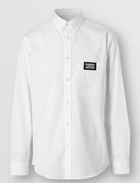 Logo Detail Stretch Cotton Poplin Shirt