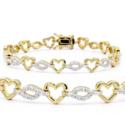 1 克拉钻石爱心镀金手链