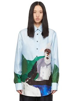 Blue Silk Mountain Horse Shirt