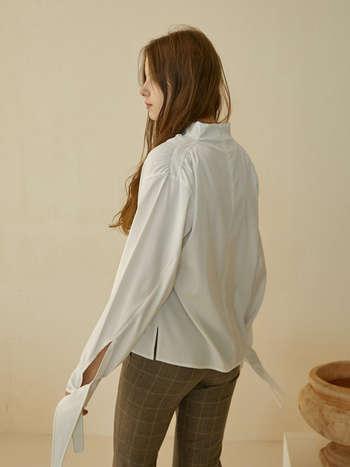 肩部褶皱设计衬衫