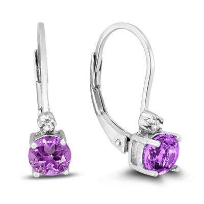 5MM 紫水晶银耳环