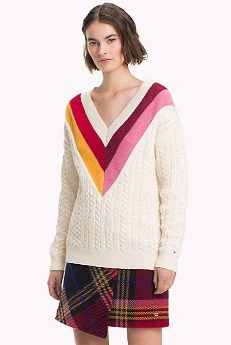 彩色条纹V领毛衣