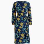 J.CREW Golden Floral Wrap Dress 印花绉绸连衣裙