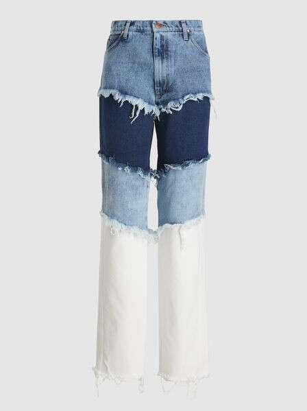 NATASHA ZINKO Layered Frayed Slim-Fit Denim Jeans