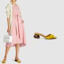NEOUS 黄色麂皮穆勒鞋