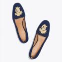 Tory Burch Antonoi 刺绣麂皮乐福鞋