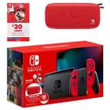 Nintendo 任天堂 Switch 续航增强版游戏主机 马里奥红 +$20 eShop 礼卡+便携包