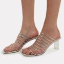 REJINA PYO Zoe Lucite 银色透明鞋跟穆勒凉鞋