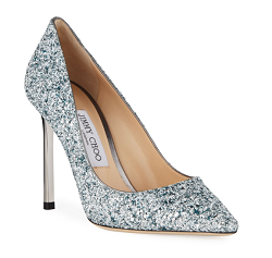 Jimmy Choo Romy 100mm Painted Coarse Glitter Fabric Pointed-Toe Pumps