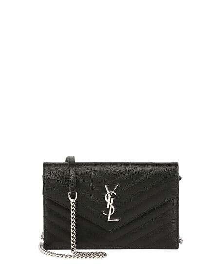 Saint Laurent Monogram YSL Wallet on a Chain, Black