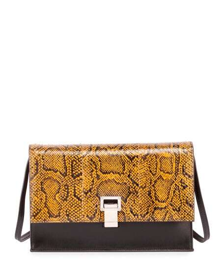 Proenza Schouler Leather and Snakeskin Lunch Shoulder Bag