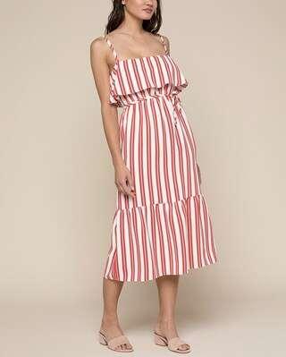 条纹吊带裙