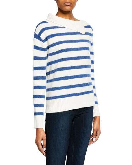 Club Monaco Byllie Striped High-Neck Pullover Sweater