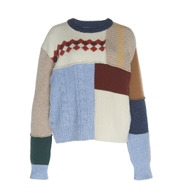ALEXACHUNG Patchwork-Effect Wool Knit Sweater