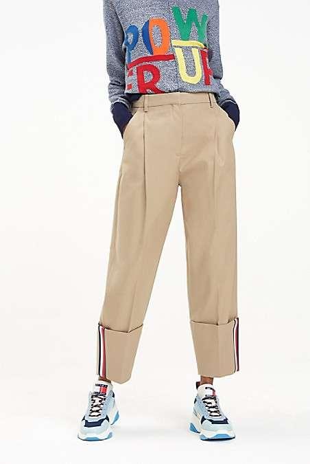 条纹阔腿裤
