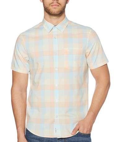 格纹短袖衬衫