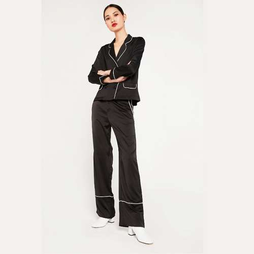 Elli White 黑色宽腿缎面长裤