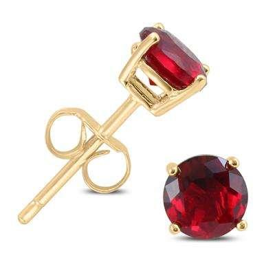 红宝石纯银镀金耳钉